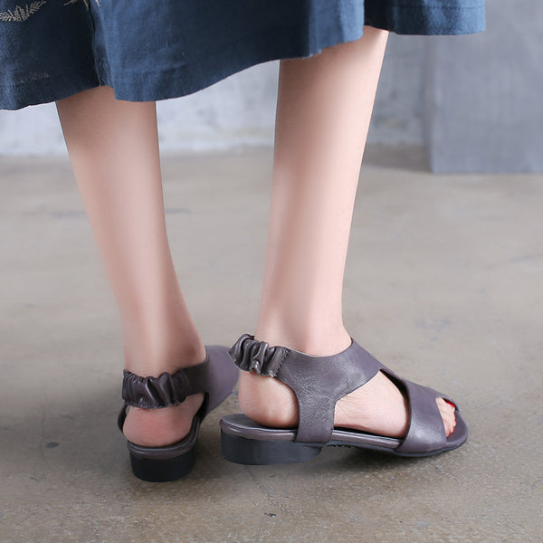 Flat Heel Sandals Women Summer Gray Leather Shoes