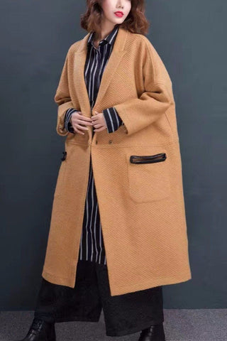 Black Pocket Maxi Size Wool Fashion Long Winter Coat Women Clothes 7019A