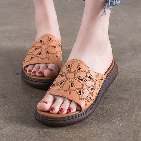 Handmade Leather Sandals Brown Flower Women Slippers Platform Shoes
