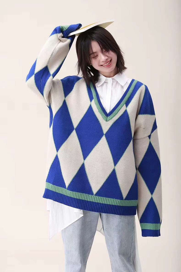 Spring Preppy Style Oversize Sweater For Women 8029
