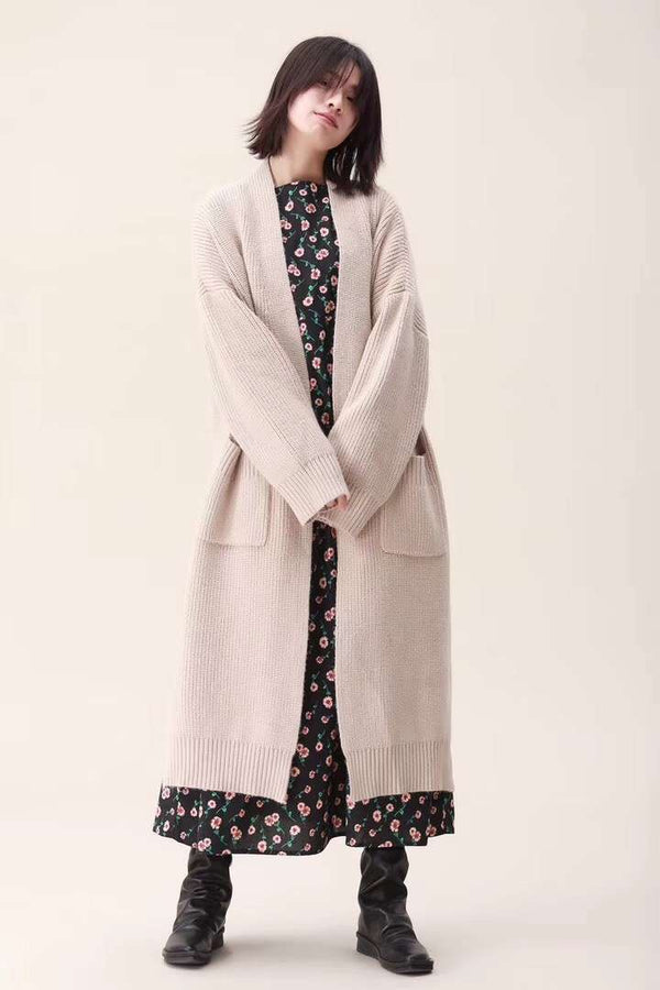 Casual Pure Color Long Sweater Coat Women Loose Outfits 1991