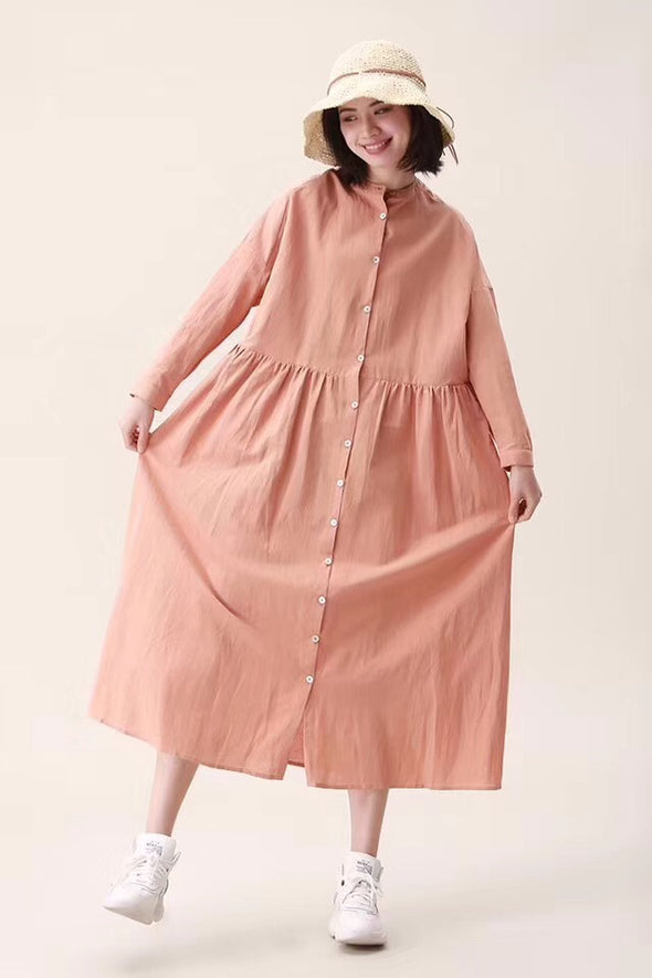 2019 Cotton Linen Spring Fall Casual Shirt Dresses For Women 19105
