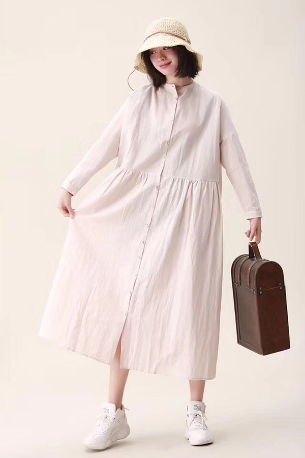 Cotton Linen Spring Fall Casual Shirt Dresses For Women
