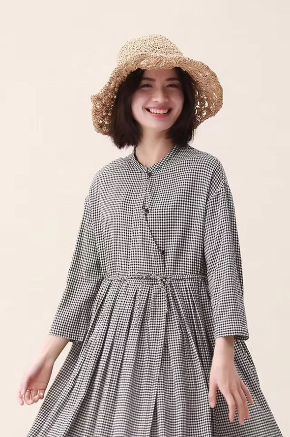 Spring Cotton Plaid Stylish Casual Long Dresses For Women 19117
