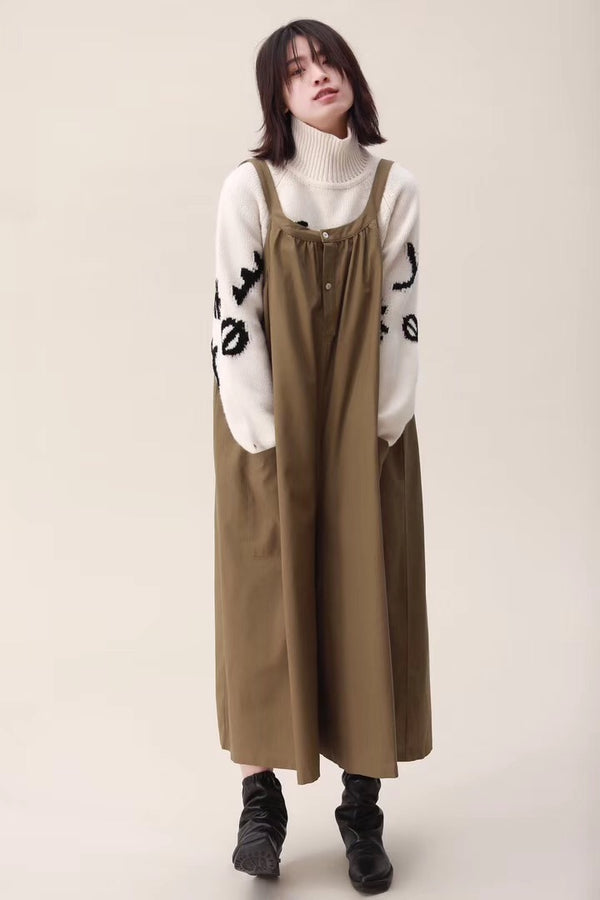 Spring Wide Leg Overalls Cotton Warm Casual Women Jumpsuits /Trousers
