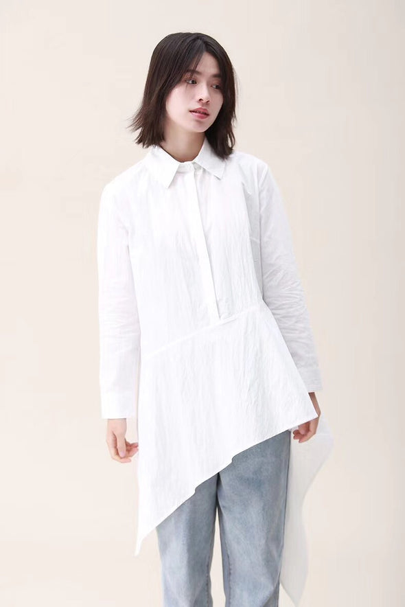 Spring Cotton Irregularity Sweep Fitting Shirt For Women 2212