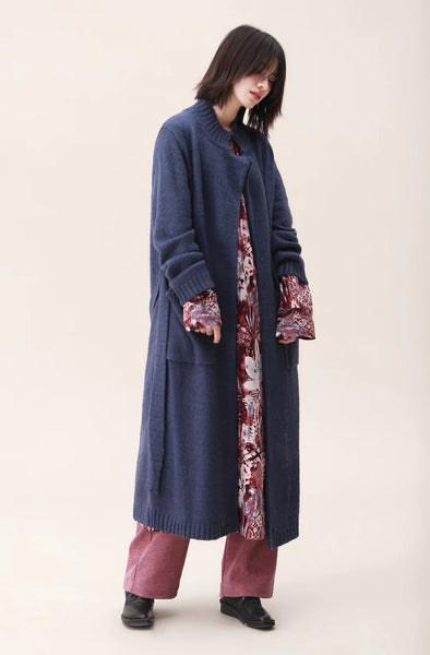 2019 Spring Casual Pure Color Long Sweater Coat For Women 8032