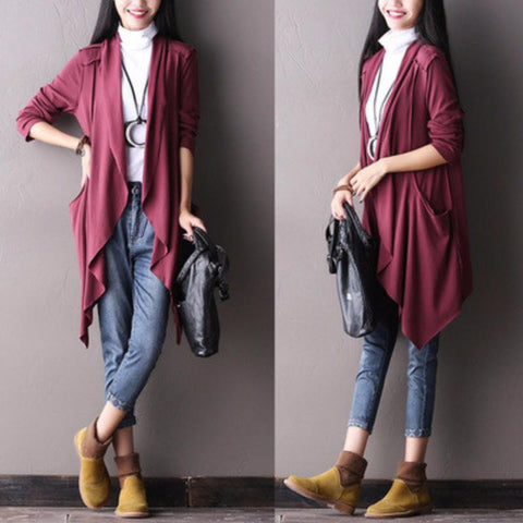 Irregular Sweep Kniting Long Sleeve Shirt Coat Women Clothes S0102A