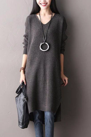Irregular Sweep Thick V-neck Wool Knitted Long Sleeve Sweater Dresses Women Tops Q1903A