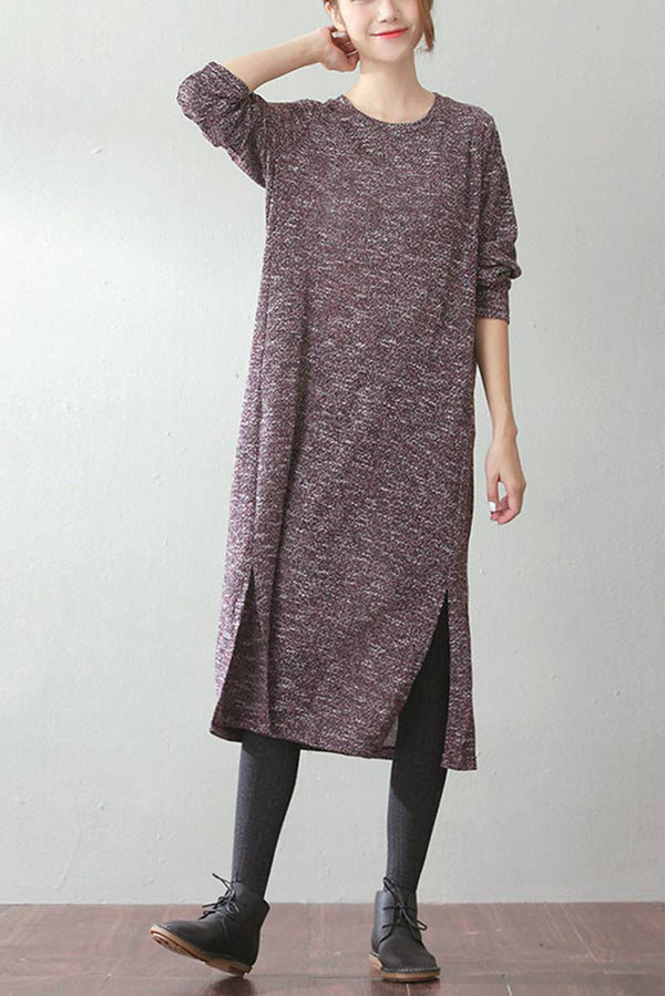 FantasyLinen Kintwear Long Casual Cotton Dress, Loose Literary Dress Q759 - FantasyLinen