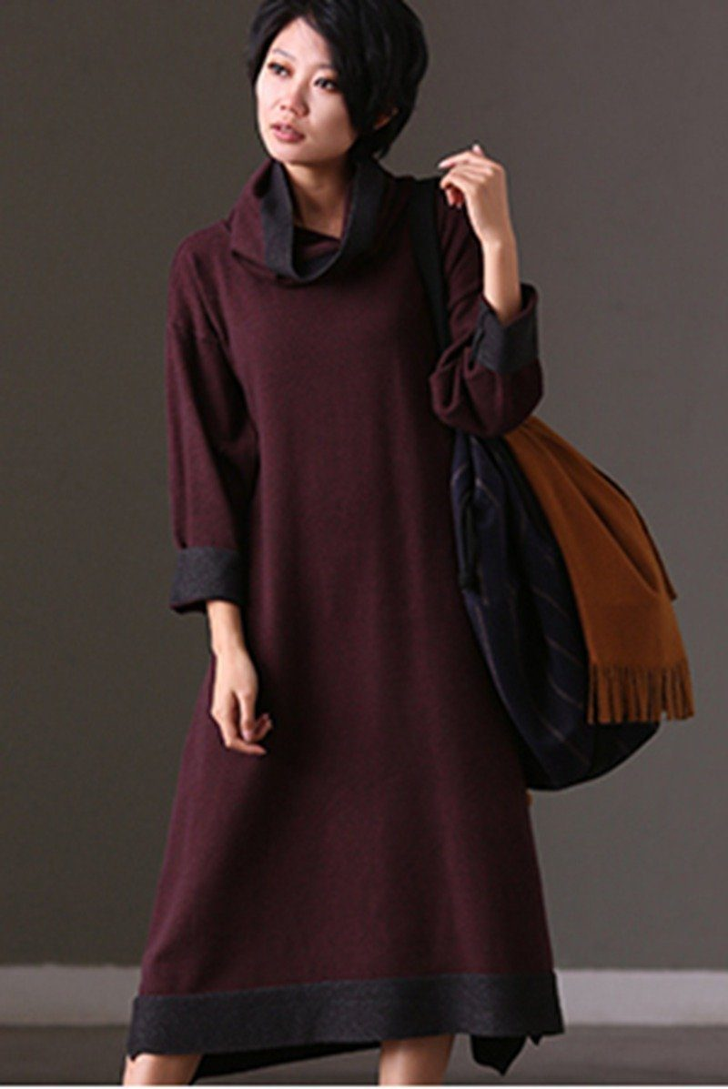8bef61c20965 FantasyLinen Kintwear loose High Neck Thick Dress