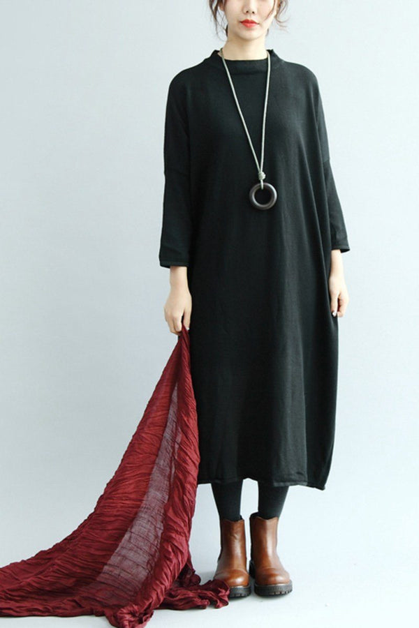 Women Knitted Cotton Loose Dress, Simple Base Dress Q5015 - FantasyLinen