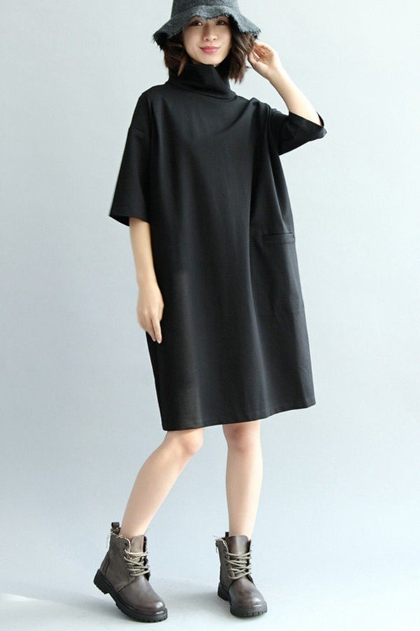 Copy of Women High Neck Loose Knitted Cotton Dress, Half Sleeve Dress Q7280 - FantasyLinen