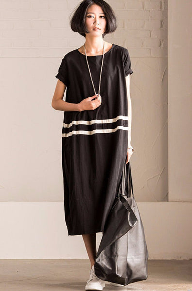Korean Style Short Sleeve Lantern Long Dress Summer Women Clothes Q9605A