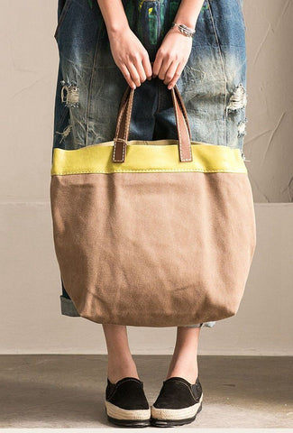 Korean Style Canvas Leather Cowhide Leisure Tote Spring and Summer Bag D3711B