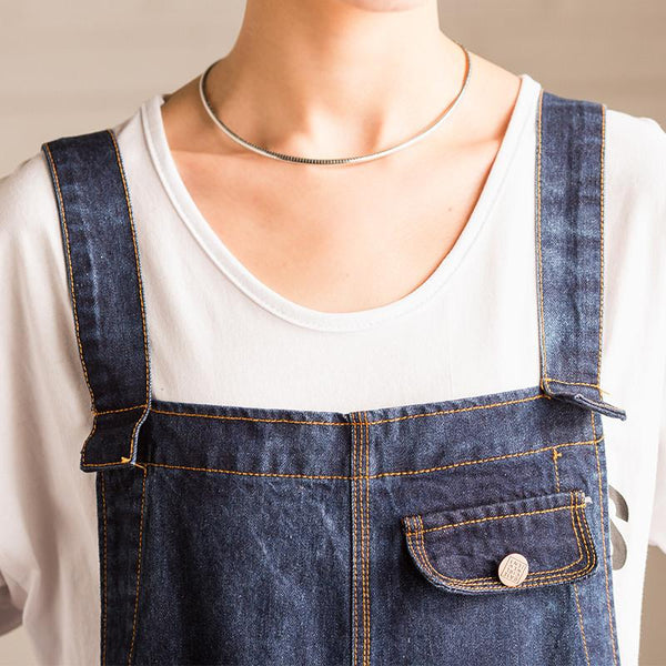 Korean Style Dark Blue Loose Causel Cowboy Overalls N3168A - FantasyLinen
