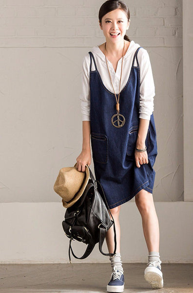 Korean Style Denim Dress Oversize Casual Women Clothes Q7113A