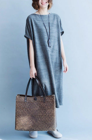 Korean Style Gray Casual Loose Dress Women Tops Q1795A