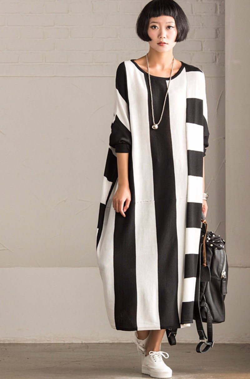Korean Style Maxi Size Loose Knitting Stripe Bat Sleeve Dress Casual