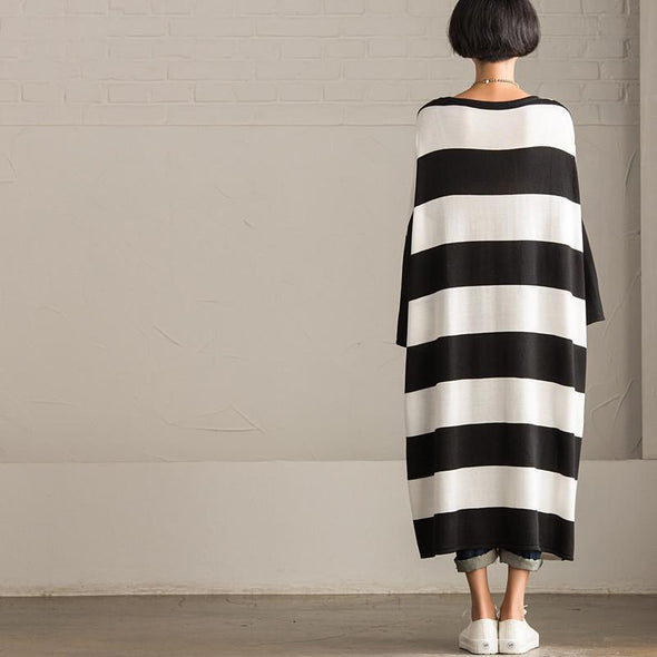 Korean Style Maxi Size Loose Knitting Stripe Bat Sleeve Dress Casual Tops Women Clothes Q7121A - FantasyLinen
