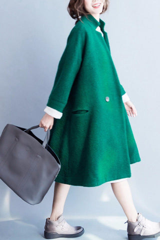 Korean Style Wool Long Coat Women Clothes W2601A