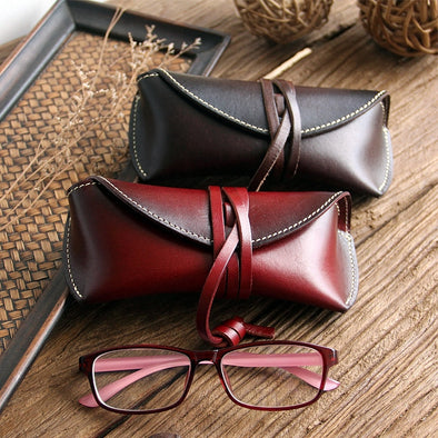 Pretty Reading Leather Glasses Case, Sunglasses Case, Hard Eyeglass Case, Glass Box