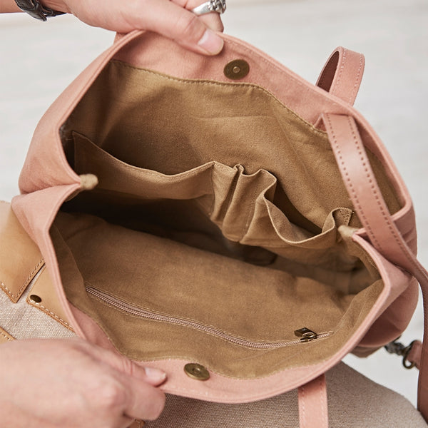 Handmade Large Size Women Full Grain Leather Tote Mother's Bag Canvas Handbags School Shoulder Bag