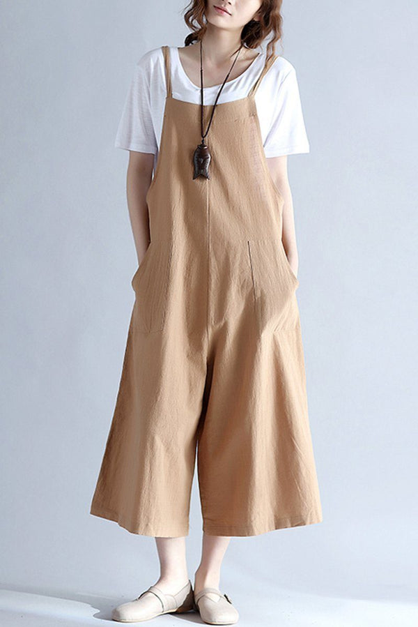FantasyLinen Linen Casual Loose Overalls, Cotton Plus Size Jumpsuit P10010 - FantasyLinen