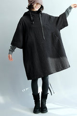 FantasyLinen Linen Hooded Cloak Dress, Stand Collar Loose Dress Q2010