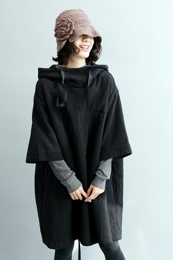 FantasyLinen Linen Hooded Cloak Dress, Stand Collar Loose Dress Q2010 - FantasyLinen