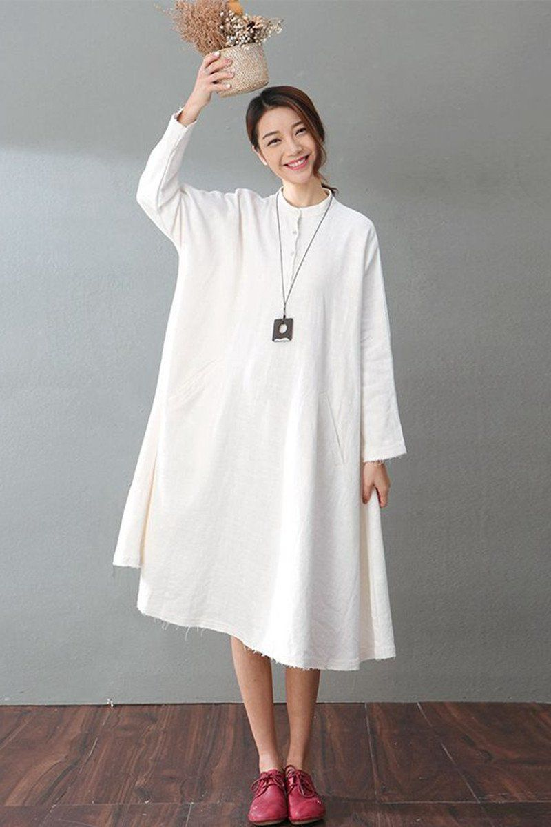 34154ff957846 Spring White Casual Cotton Linen Dresses Long Sleeve Shirt Dress Women  Clothes - FantasyLinen