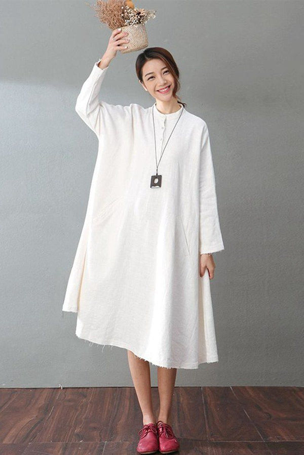 Spring White Casual Cotton Linen Dresses Long Sleeve Shirt Dress Women Clothes - FantasyLinen