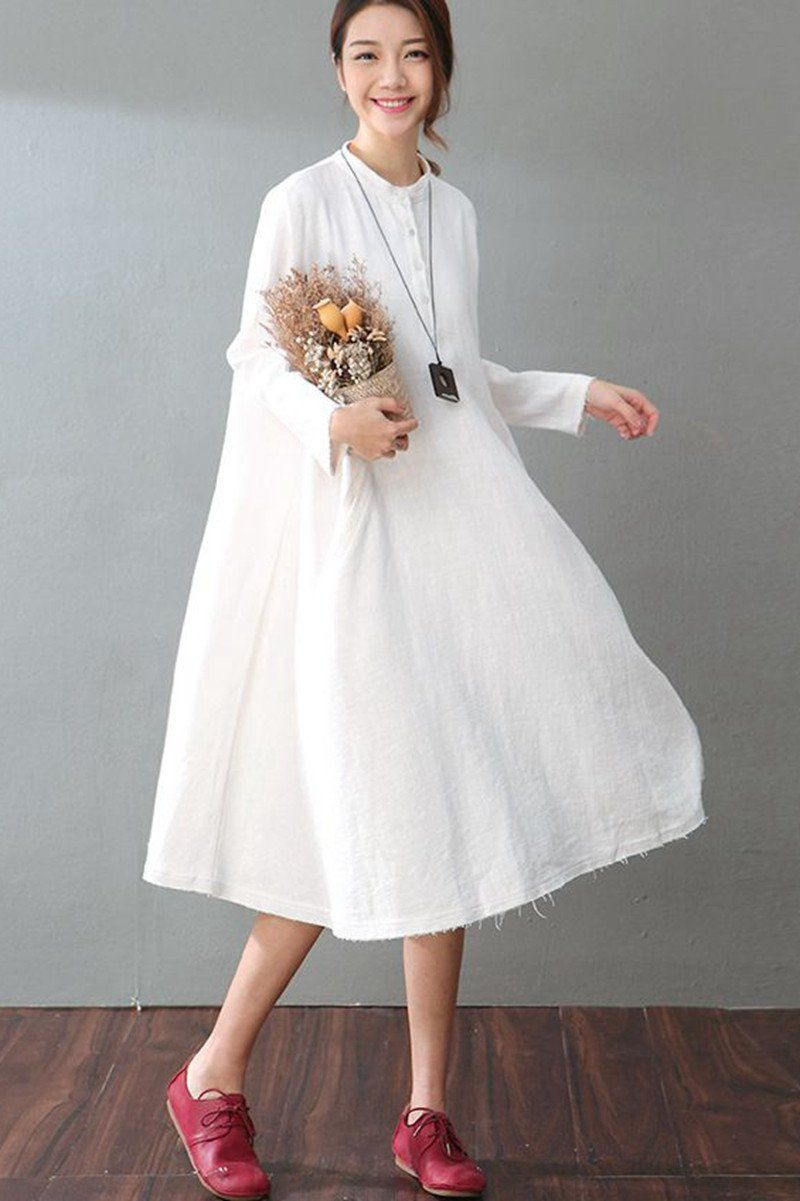 Spring White Casual Cotton Linen Dresses Long Sleeve Shirt ...