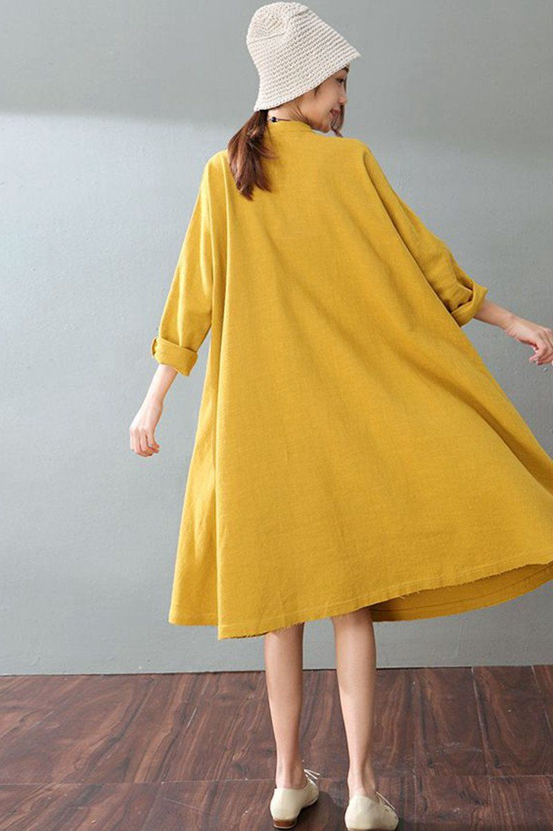94872eb27299 Spring Yellow Casual Cotton Linen Dresses Long Sleeve Shirt Dress Women  Clothes - FantasyLinen
