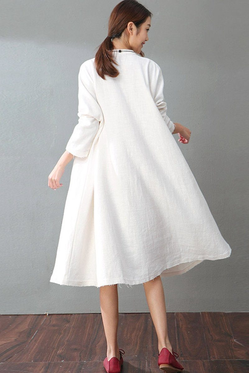 ead8ac57fc01 Spring White Casual Cotton Linen Dresses Long Sleeve Shirt Dress Women  Clothes - FantasyLinen