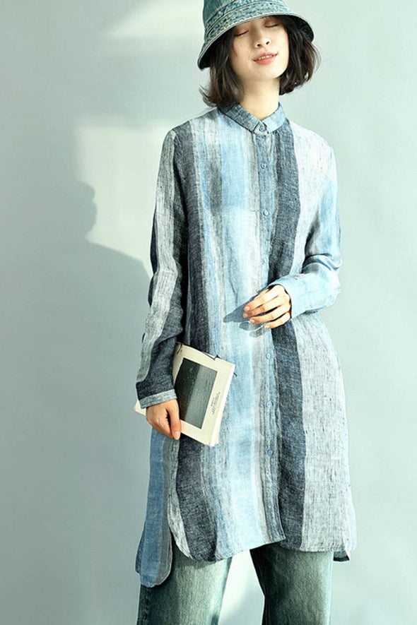 Blue Linen Stripe Loose Casual Long Shirt Dress S3403 - FantasyLinen