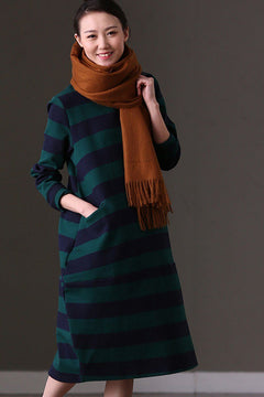 FantasyLinen Loose Literary Stripe Dress, Plus Size Casual Dress For Spring Q3800