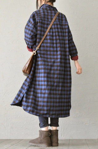 Small Plaid Cotton Casual Loose Long Shirt Dresses Tops Women Clothes S539A