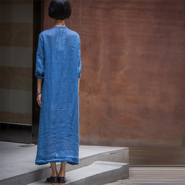 Long Dress Linen Cotton Shirt Casual Clothes for Women C1321A - FantasyLinen