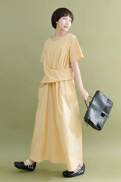 FantasyLinen Design Style Simple Yellow Casual Loose Fitting Dresses 7062