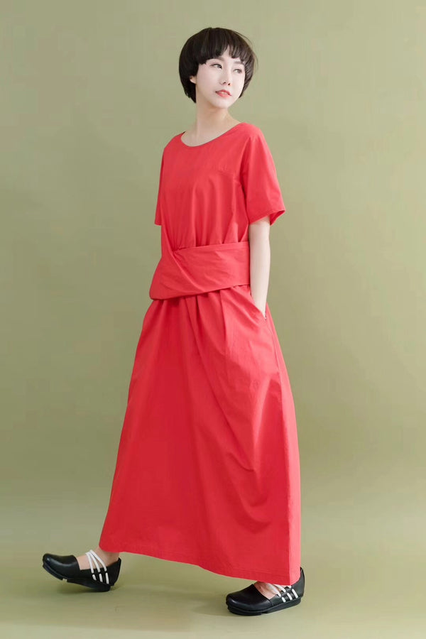 FantasyLinen Design Style Simple Stylish Red Casual Loose Fitting Dresses 7062