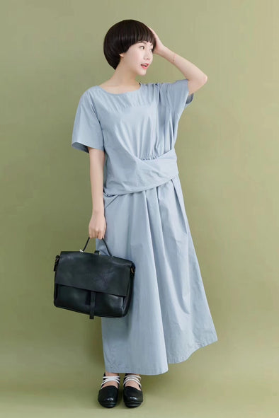 FantasyLinen Design Style Simple Stylish Sky Blue Casual Loose Fitting Dresses 7062