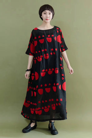 FantasyLinen Summer Silk Linen Red Cool Casual Loose Fitting Long Dresses 2106