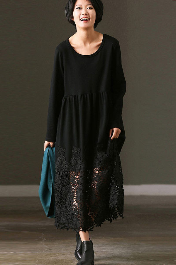 FantasyLinen Women Loose Basic Literary Lace Dress, Casual Dress in Black Q7237B - FantasyLinen