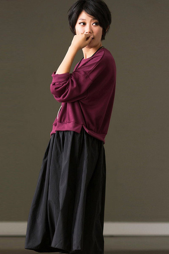 FantasyLinen Women Loose Cotton Dress, Casual Long Sleeve Dress Q8523A - FantasyLinen