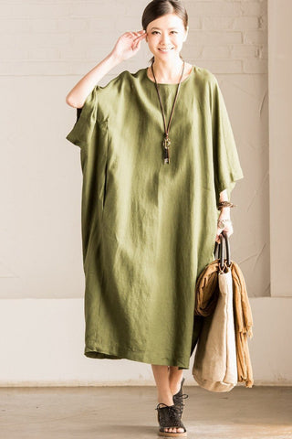 Loose Cotton Linen Dress Maximum Size Blouse Women Clothes Q0031A