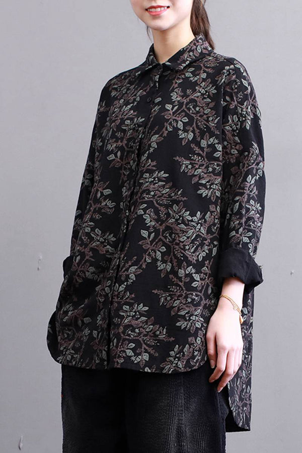 FantasyLinen Cotton Loose Floral Shirt, Wome Long Sleeve Casual Shirt S3011 - FantasyLinen