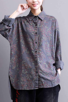 FantasyLinen Cotton Loose Floral Shirt, Wome Long Sleeve Casual Shirt S3011