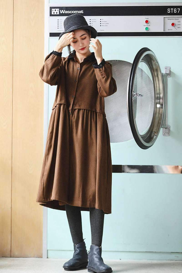 FantasyLinen Loose Liene Stripe Shirt Dress, Women Thick Literary Shirt Dress Q309 - FantasyLinen
