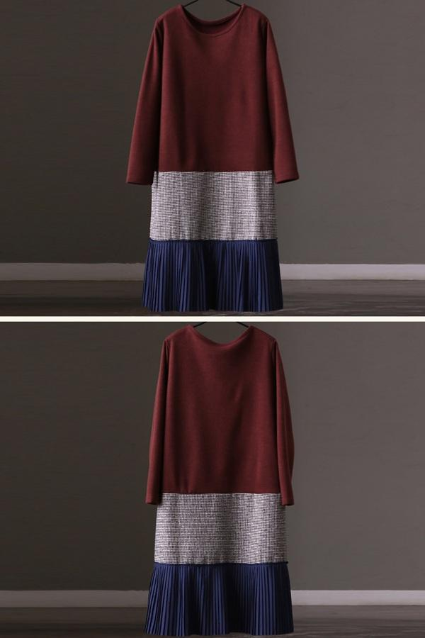 FantasyLinen Women Loose Long Sleeve Literary Dress, Casual Dress For Winter Q8539A - FantasyLinen